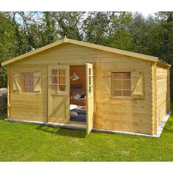 FOREST STYLE - Abri de jardin bois LOUVIE PLUS 19,7m², double porte, madriers