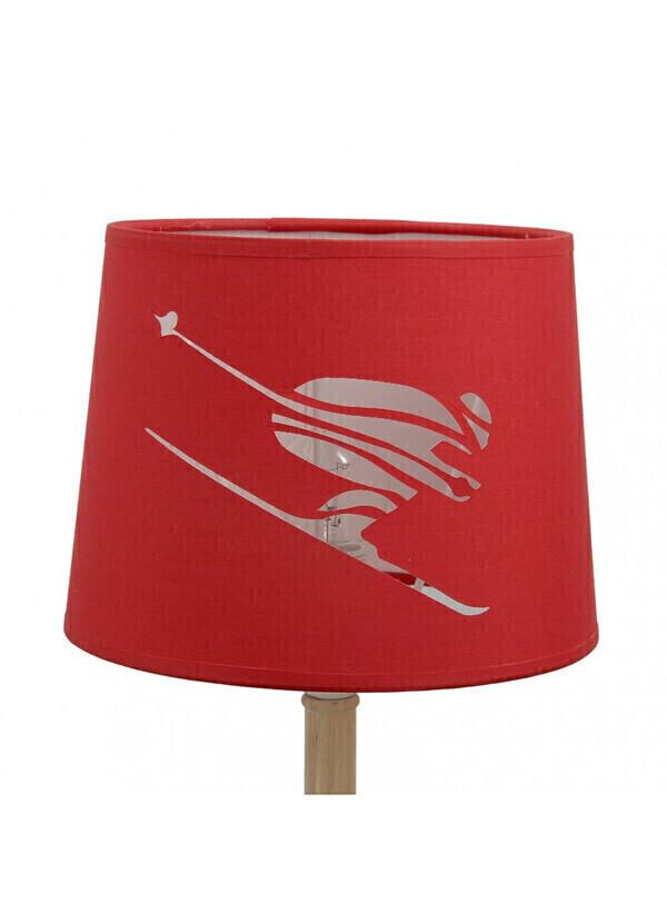 Créations Léonie's France - Abat-jour cylindrique skieur en micro-découpe rouge diamètre 20c