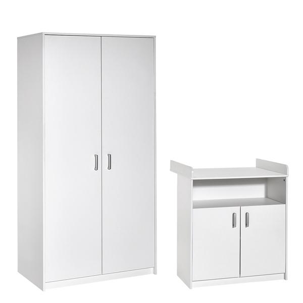 Schardt - Commode avec plan à langer et armoire 2 portes Lilo - Blanc