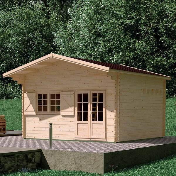 FOREST STYLE - Abri de jardin bois JASMIN 21,8m² + mezzanine 8,7m², plancher,