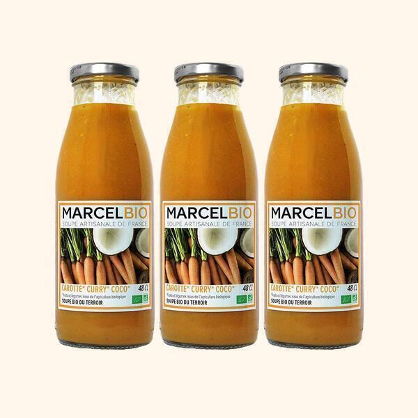 Marcel Bio - Soupe de Carotte Curry Coco Bio - 3 x 48cl