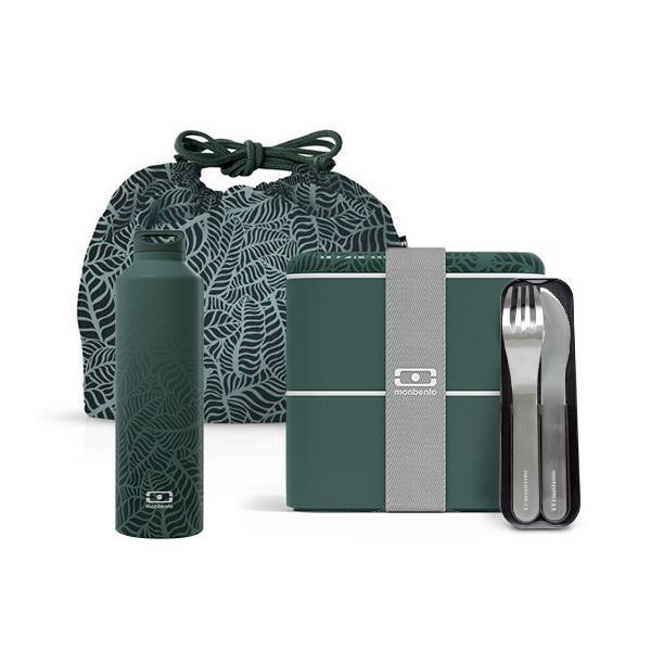 monbento - Pack MB Square carré Jungle 1,7L, bouteille et accessoires