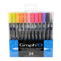 Graph'it - Coffret 24 feutres double pointe à base d'eau Graph'O -
