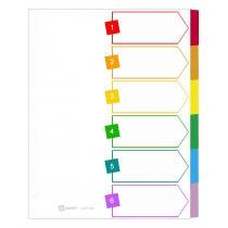 Avery - Intercalaires A4 à 6 touches carte blanche, onglets de couleur