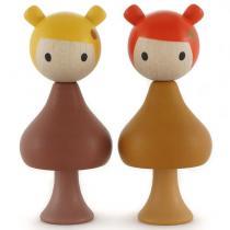 CLICQUES - Lot de 2 figurines en bois magnétiques - Gaia et Mimi