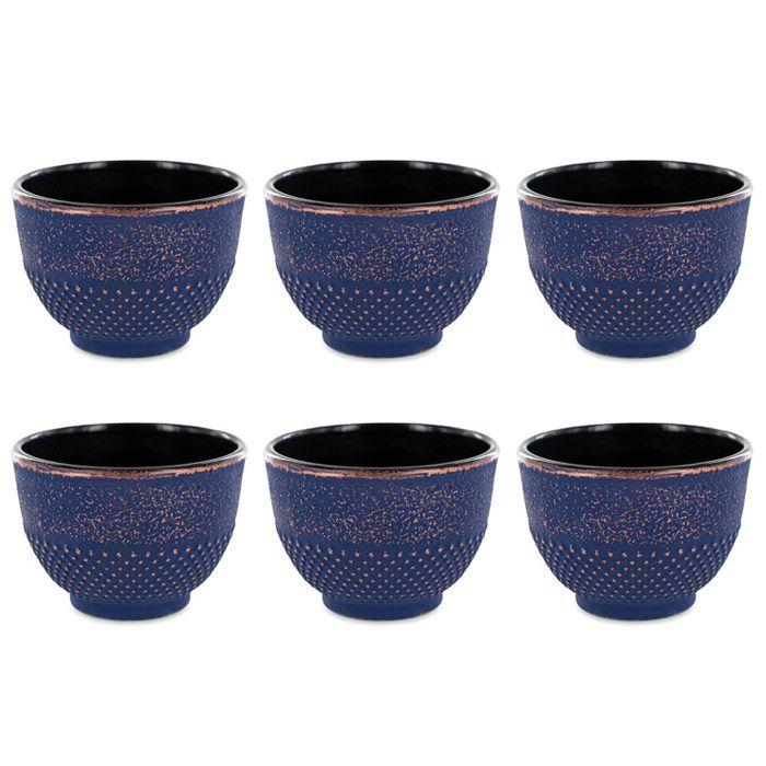 Aromandise - 6 tasses en fonte de Chine bleu & bronze 15 cl