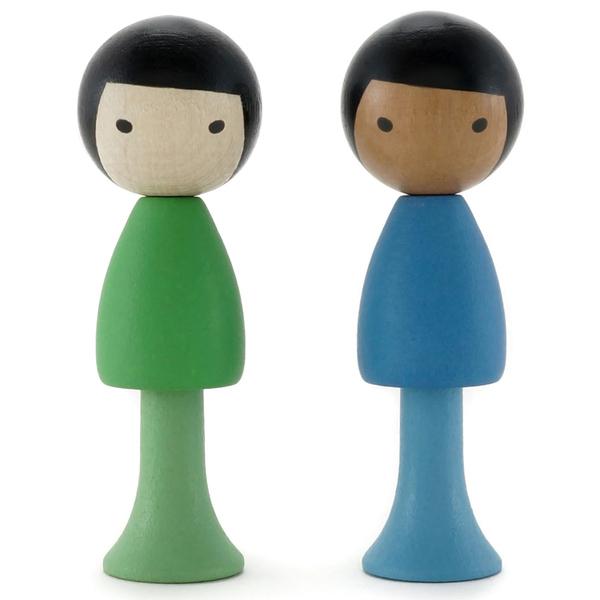 CLICQUES - Lot de 2 figurines en bois magnétiques - Tai et Nico