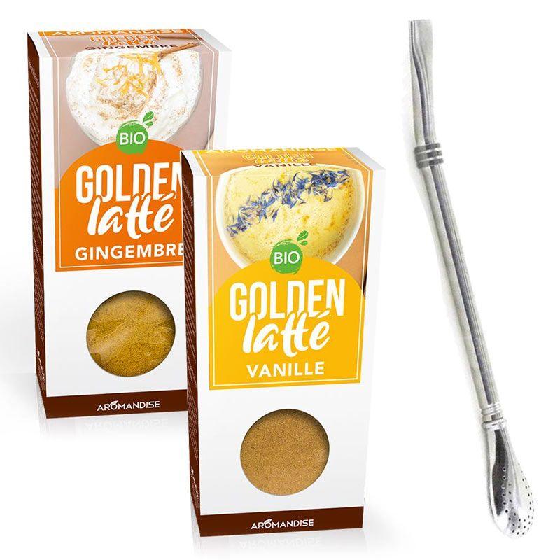 Aromandise - 2 golden Latte gingembre & vanille + paille inox avec filtre