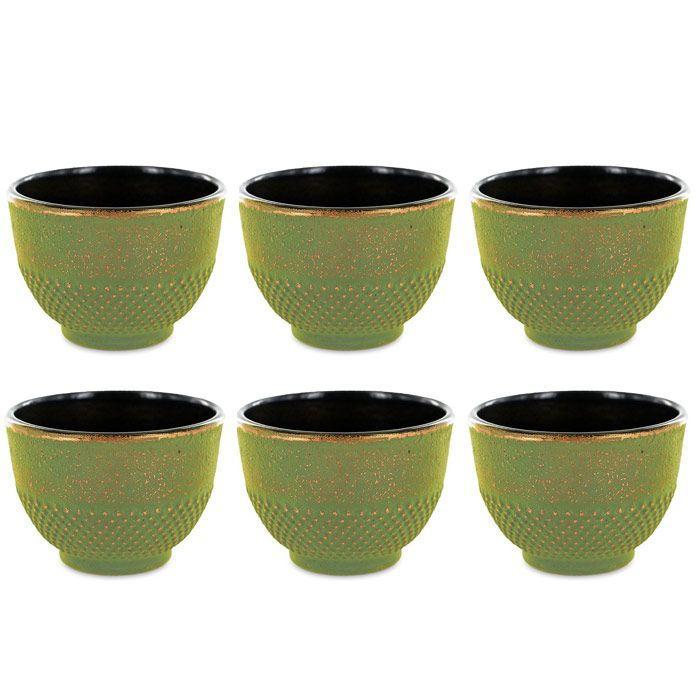 Aromandise - 6 tasses en fonte de Chine vert & bronze 15 cl