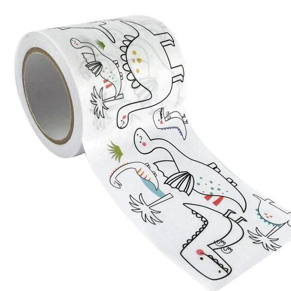 Graine Créative - Masking tape large à colorier - Dinosaures 4,6 cm x 5 m