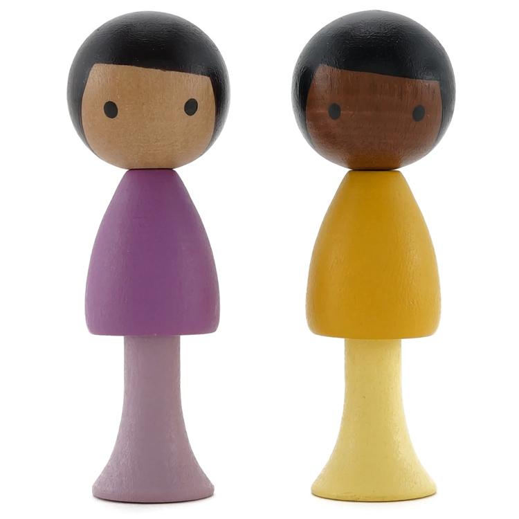 CLICQUES - Lot de 2 figurines en bois magnétiques - Pablo et Léo