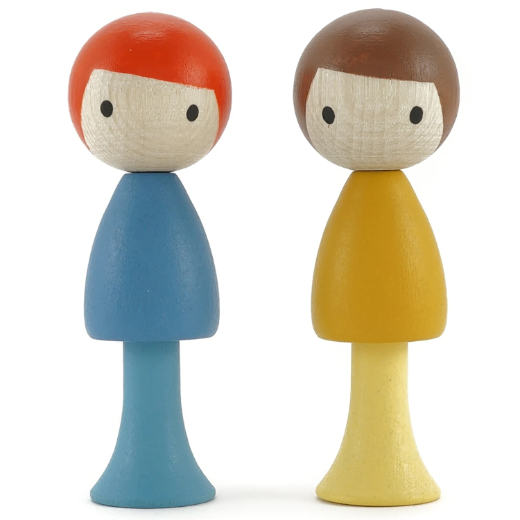 CLICQUES - Lot de 2 figurines en bois magnétiques - Marco et Ben