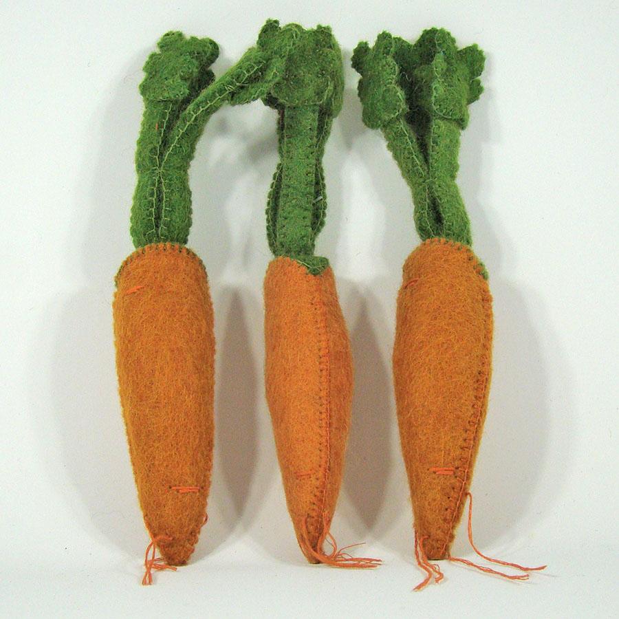 PAPOOSE TOYS - Légumes en laine feutrée - 3 carottes