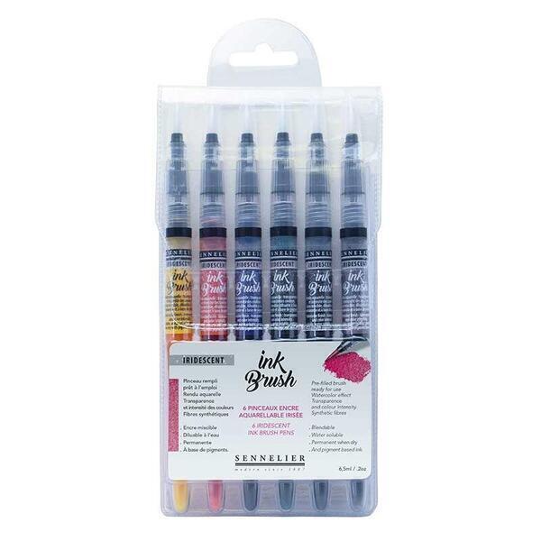 Sennelier - 6 pinceaux encre aquarellable - Couleurs irisées - Ink brush