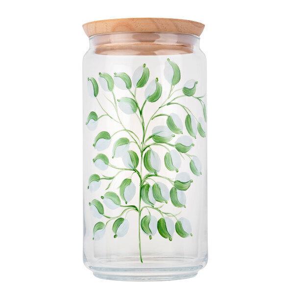 By Tiline - Bocal en verre 1,5L Peint à la main - Glycine Blanc