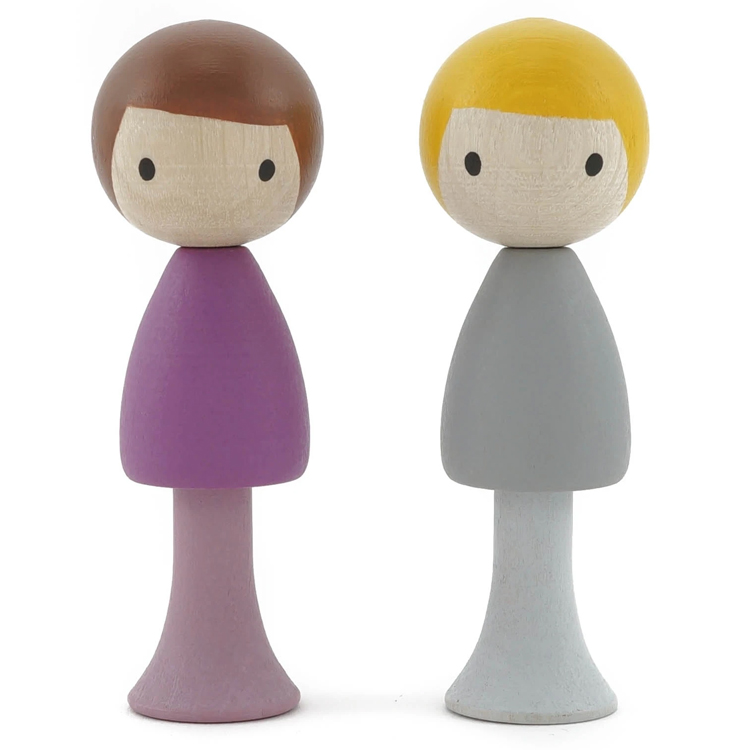CLICQUES - Lot de 2 figurines en bois magnétiques - Luca et Tom