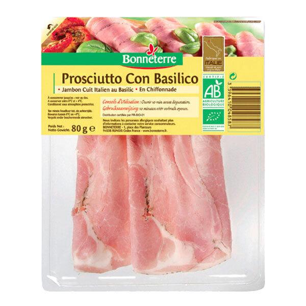 Bonneterre - Jambon cuit au basilic Italie 80g