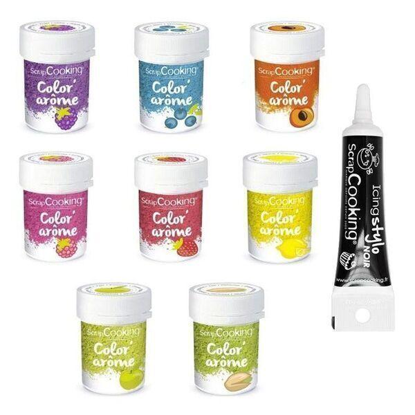 ScrapCooking - 8 Colorants alimentaires aux arômes de fruits + Stylo de glaçage