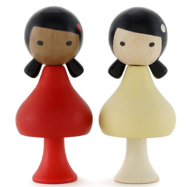 CLICQUES - Lot de 2 figurines en bois magnétiques - Meena et Hana