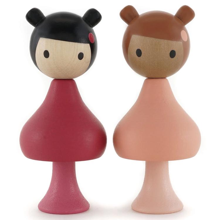 CLICQUES - Lot de 2 figurines en bois magnétiques - Julie et Phoebie