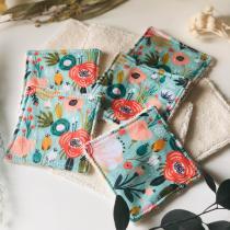 Anna et Jade - Lot de 10 lingettes lavables en coton biologique fleur turquoise