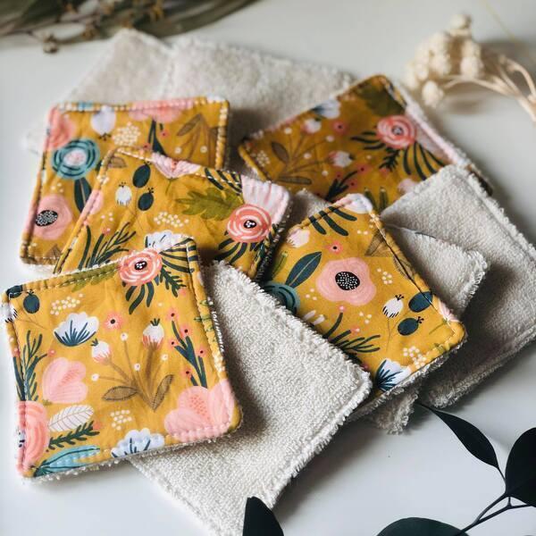Anna et Jade - Lot de 10 lingettes lavables en coton biologique motif moutarde