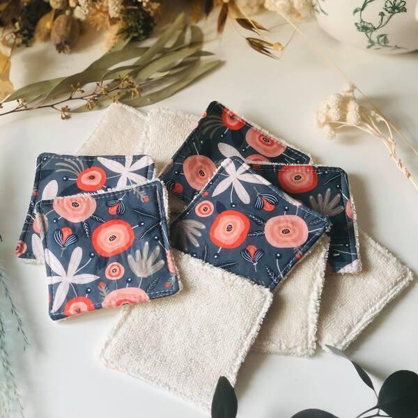 Anna et Jade - Lot de 10 lingettes lavables en coton biologique fleurs rouges