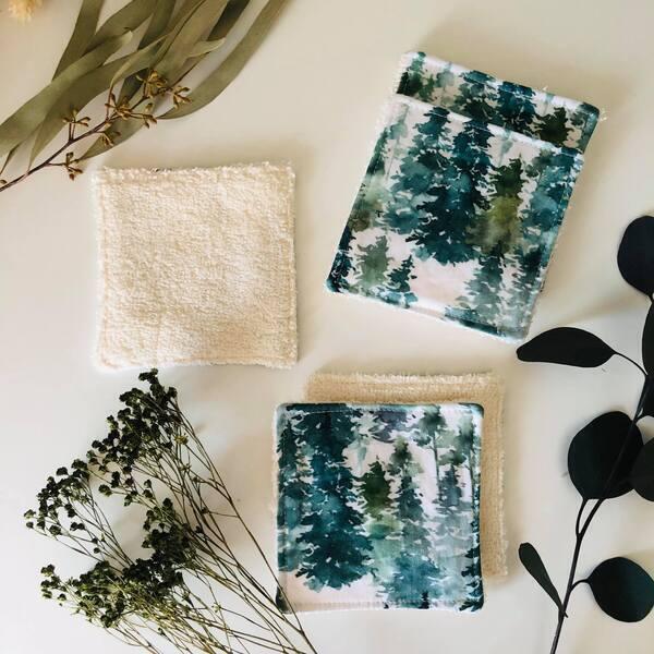 Anna et Jade - Lot de 5 lingettes lavables et réutilisables en coton forêt