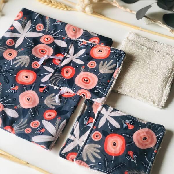 Anna et Jade - Lot de 5 lingettes lavables bio et pochon fleurs rouges