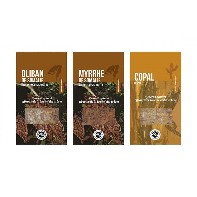 Les Encens du Monde - 3 résines d'encens à brûler - Oliban, Myrrhe, Copal