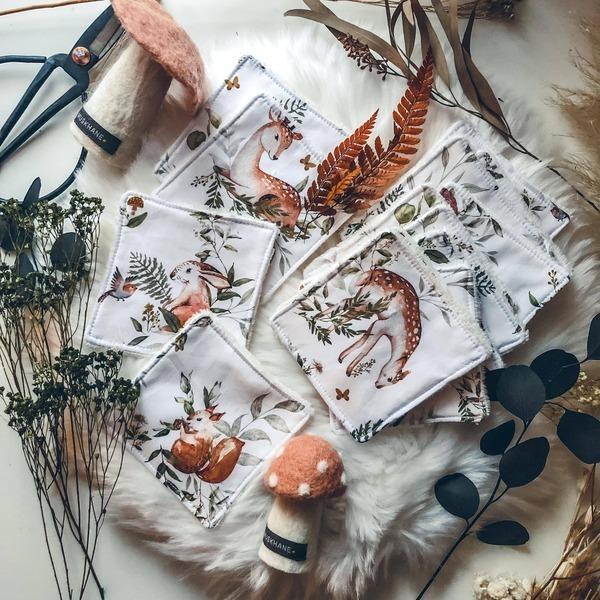 Anna et Jade - Lot de 10 lingettes lavables en coton biologique motif Oranges