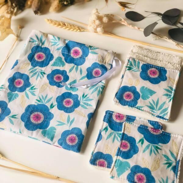 Anna et Jade - Lot de 5 lingettes lavables bio et pochon fleurs bleues