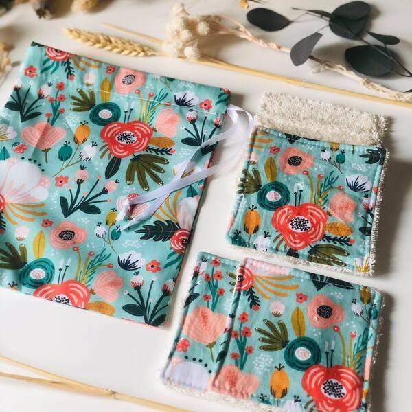 Anna et Jade - Lot de 5 lingettes lavables et pochon fleurs turquoise