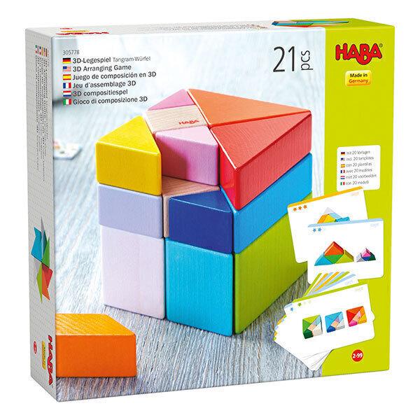 Haba - Jeu d'assemblage en bois 3D Cube Tangram - Dès 2 ans