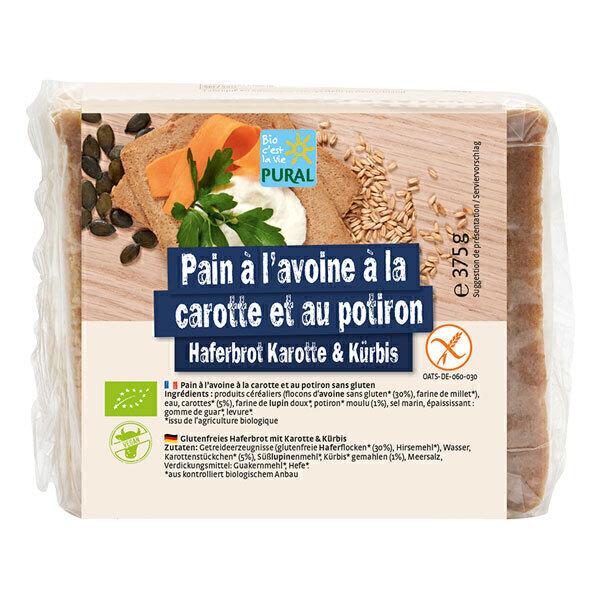 Pural - Pain avoine, potiron et carottes sans gluten 375g