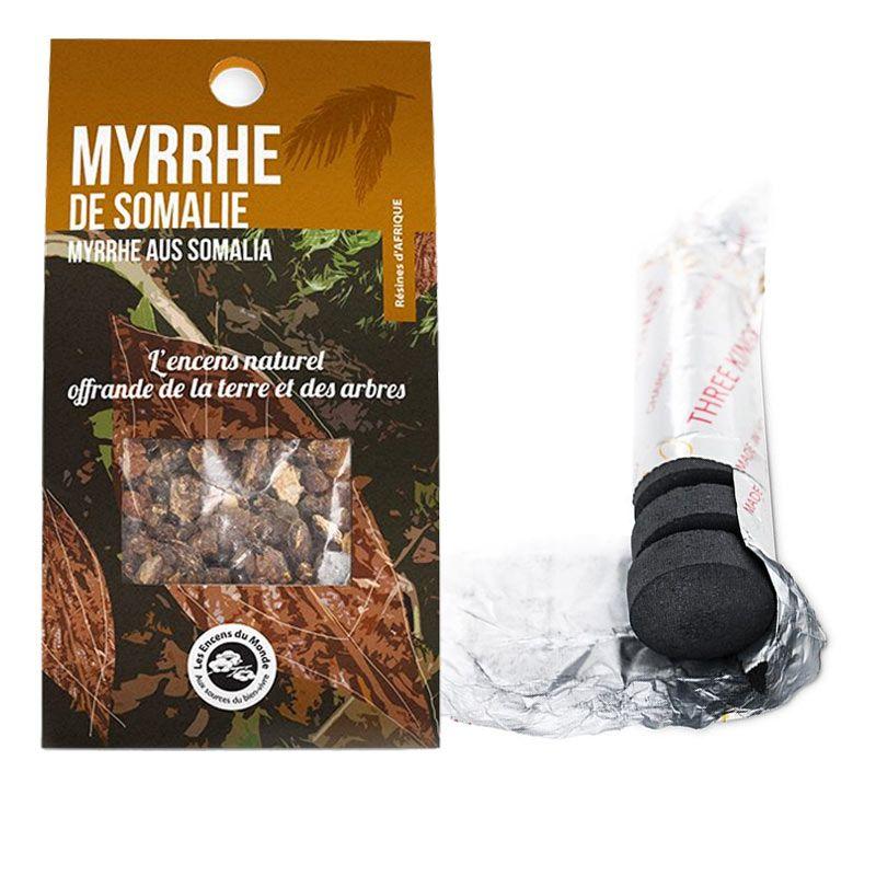Les Encens du Monde - Résine de Myrrhe de Somalie à brûler + rouleau de 10 charbons