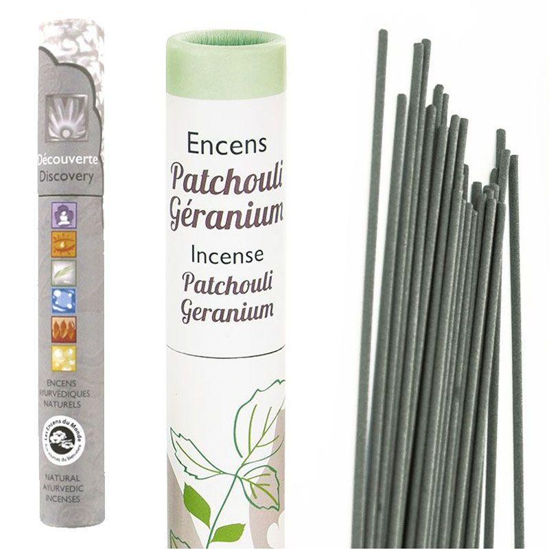 Les Encens du Monde - Encens Patchouli-Geranium 30 bâtonnets + encens ayurvédique 14