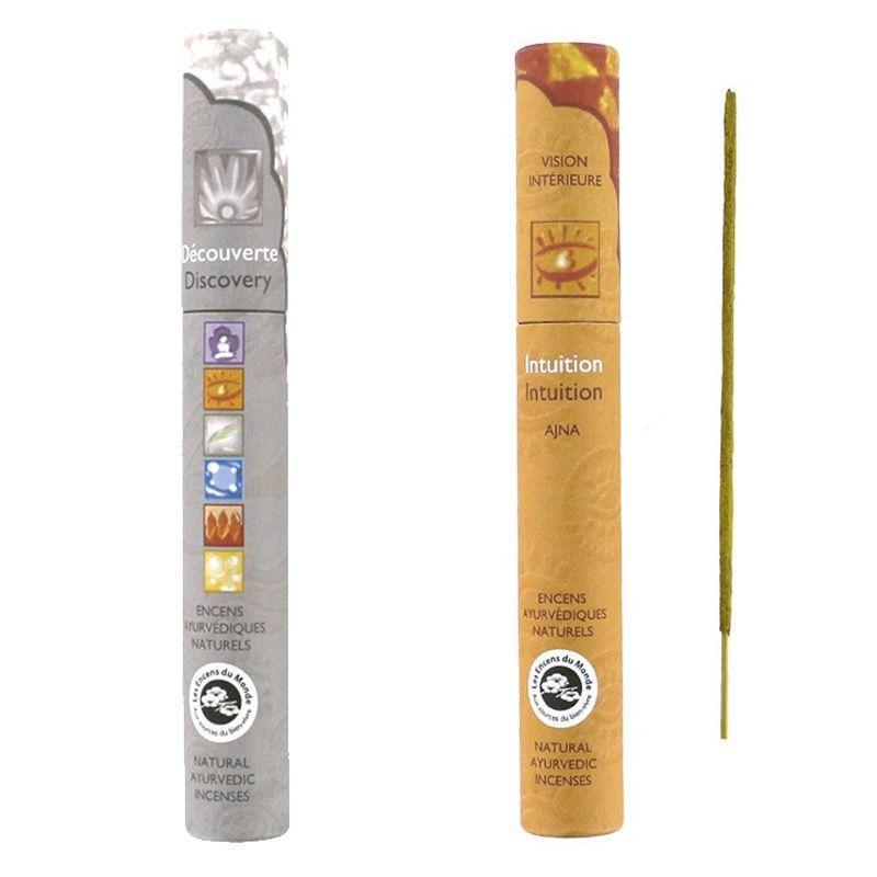 Les Encens du Monde - 30 bâtonnets d'encens ayurvédique Intuition & Découverte