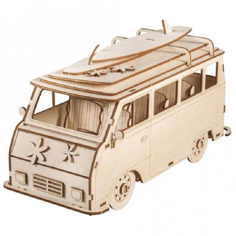 Rayher - Maquette en bois 3D Camping car à customiser - 30 x 13 x 17 cm