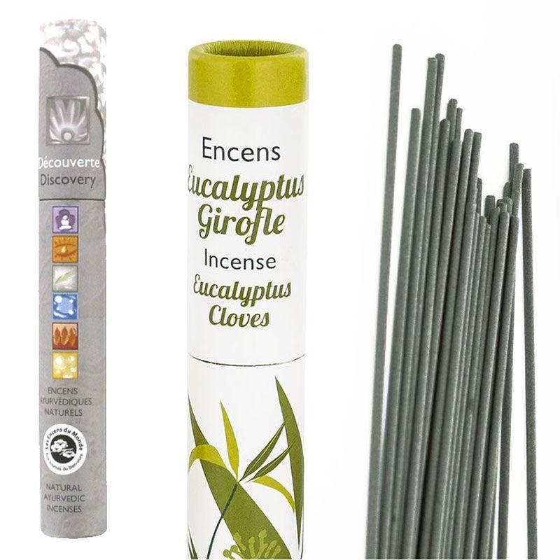 Les Encens du Monde - Encens Eucalyptus-Girofle 30 bâtonnets + encens ayurvédique 14