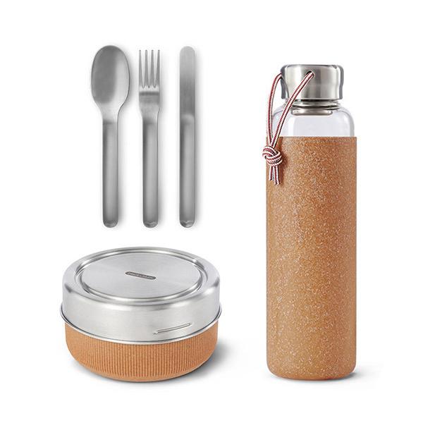 Black & Blum - Pack Lunch bowl, bouteille en verre et couverts inox Almond