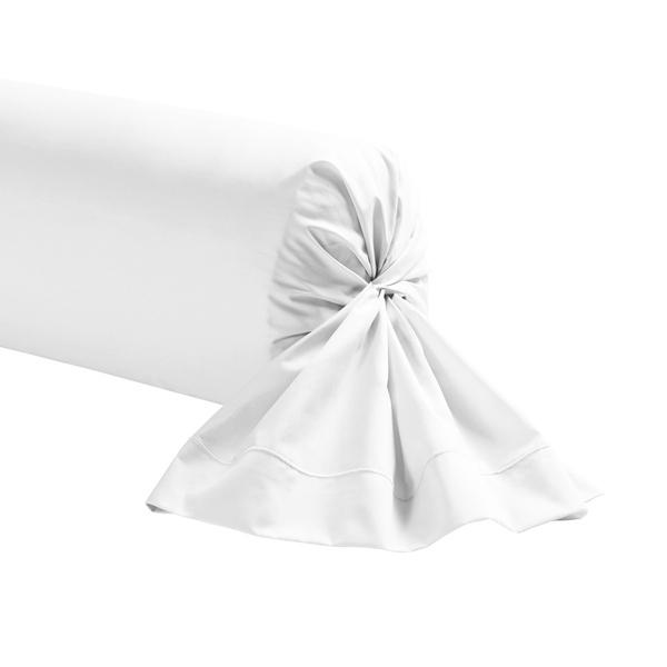 Zôdio - Taie de traversin rectangle en coton blanc 44x185cm
