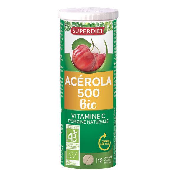 SUPERDIET - Acerola 500 bio 12 comprimés à croquer