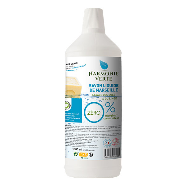 Harmonie Verte - Savon liquide de Marseille 0% 1L