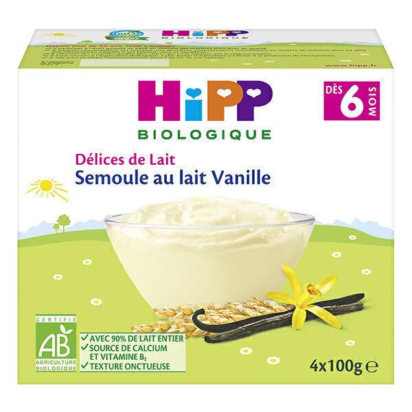 HiPP - Semoule au lait vanille dès 6 mois - 4x100g