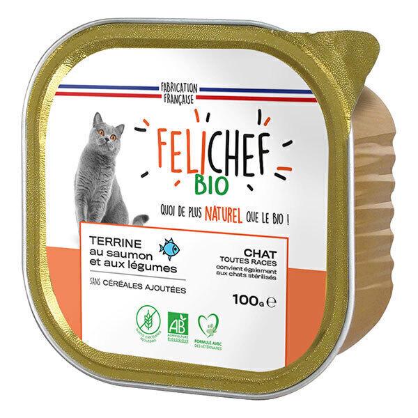 Felichef - Terrine sans céréales chat saumon et légumes 100g