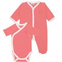 Premiers Moments - Lot Body et Pyjama Léger Bio - Taille 1 mois - Couleur Corail