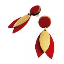 Ni une ni deux - Boucles d'oreilles Dalia Rouge en cuir
