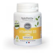 Nat & Form - Vitamine D3 + Zinc 60 gélules végétales