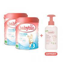 Babybio - Lot 2 Primea 3 croissance 10 mois 800g + eau nettoyante offerte
